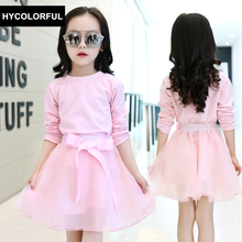 New 2018 Spring Baby Girls Clothes Children Clothing Set Blouse+Tutu Skirt Two-piece Set Cute Bow Princess Kids Colthes Age3-15Y(China)