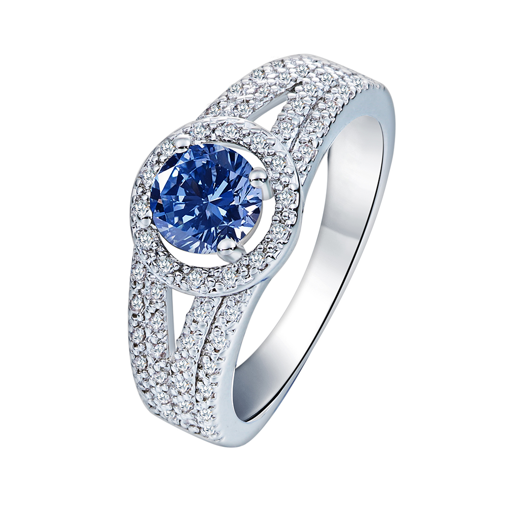 Fashion New Collection silver plated Brilliant Stackable Ring for Wedding Blue Clear CZ Ring Fine Jewelry Anillos Drop Shipping