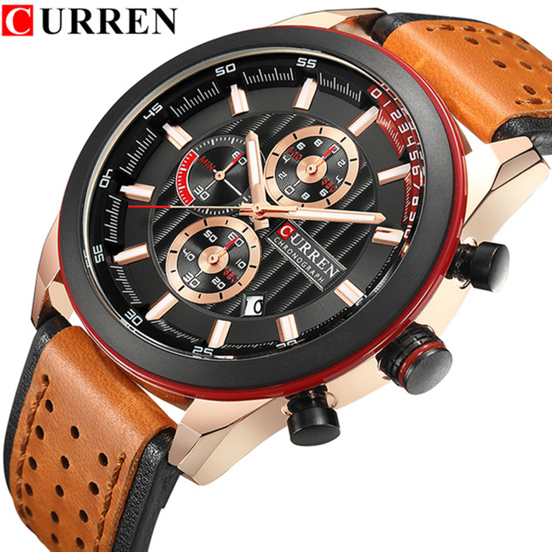 Relogio Masculino CURREN Luxury Brand Chronograph Sport Men Watches Leather Strap Casual Quartz Wristwatches Date Male Clock 2018 men watch brand guanqin quartz watches week date waterproof sport casual clock leather strap wristwatches relogio masculino