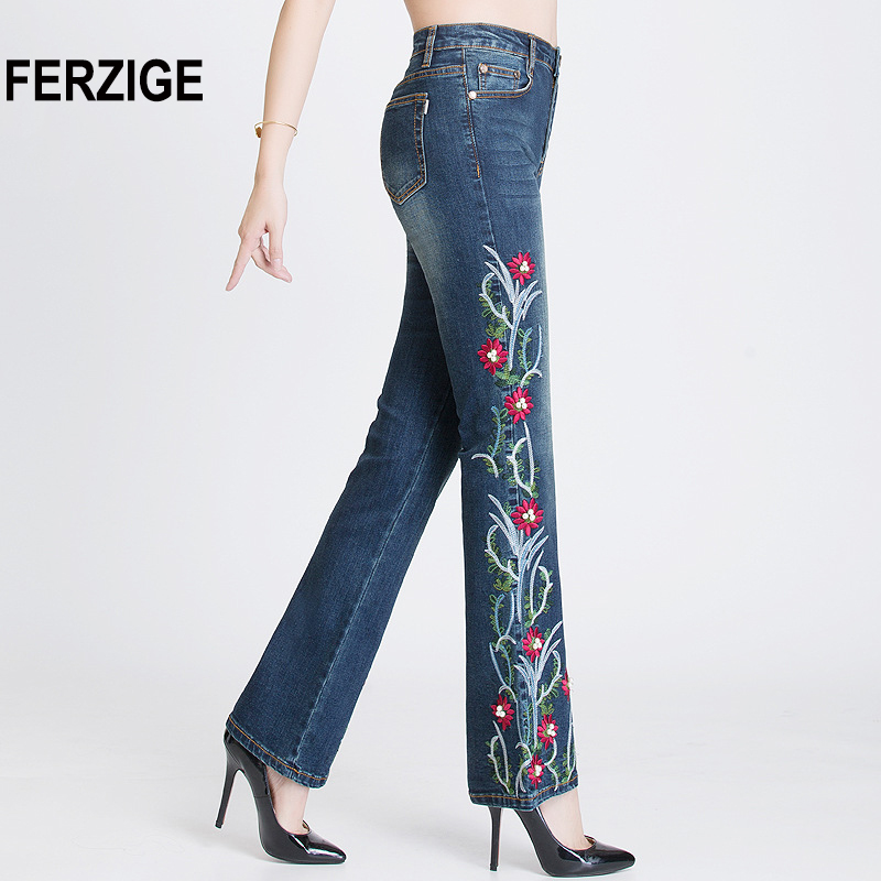 FERZIGE Women Jeans with Embroidery High Waist Stretch Embroidered Flares Bell Bottoms Beads Pleated Denim Pants Mujer Feminino