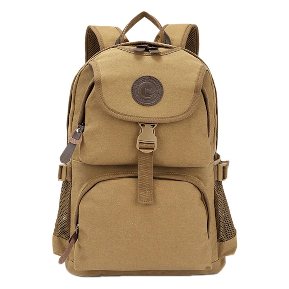 ФОТО Large Capacity Khaki Travel Durable Canvas Backpacks Male Female Daily Zipper Hasp Shoulder Bags Travel Casual Packbag