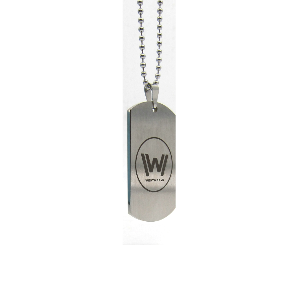 New Westworld Logo Necklace Hot TV Series Stainless Steel Dog Tag Pendant Beaded Chain Fashion Jewelry for Women and Men fans