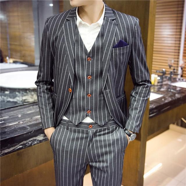 c8d2b79527fb (Veste + Gilet + Pantalon) Hommes Slim Fit Costumes Hommes Blazers De  Mariage Costumes