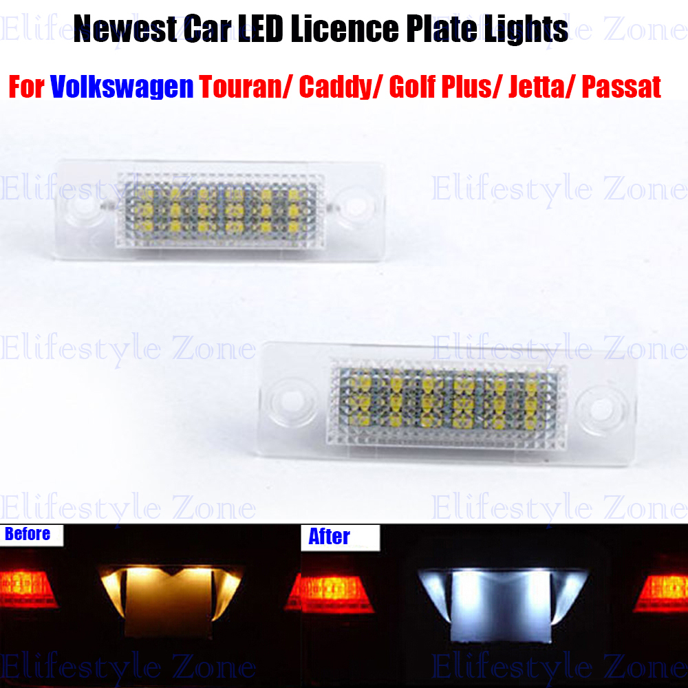 2 x LED Number License Plate Lamp OBC Error Free 18 LED For Volkswagen VW Golf Caddy Passat Jetta Skoda Superb  qook 2piece car error free led license number plate light lamp for porsche vw golf polo passat seat number plate lamp