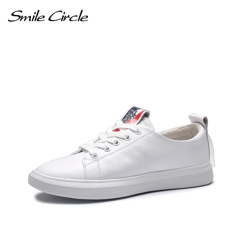 Smile Circle sneakers 2019 Spring White shoes women Genuine Leather fashion Lace up Flat shoes women