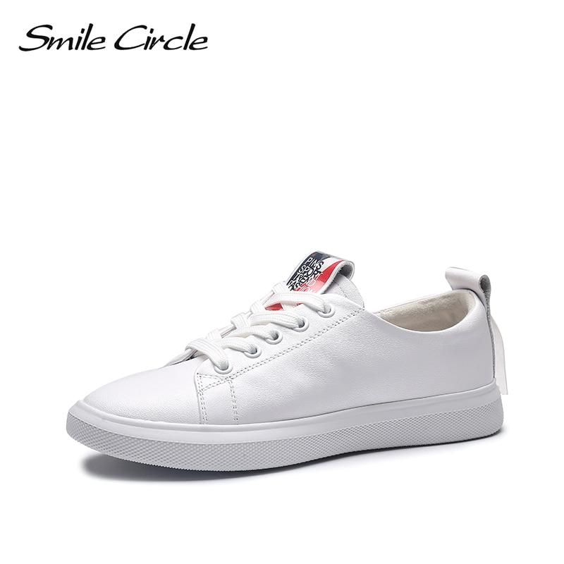 Uśmiech koło sneakers 2019 wiosna białe buty kobiety prawdziwej skóry koronka up płaskie buty damskie buty w stylu casual buty studenckie w Damskie buty z gumową podeszwą od Buty na  Grupa 1