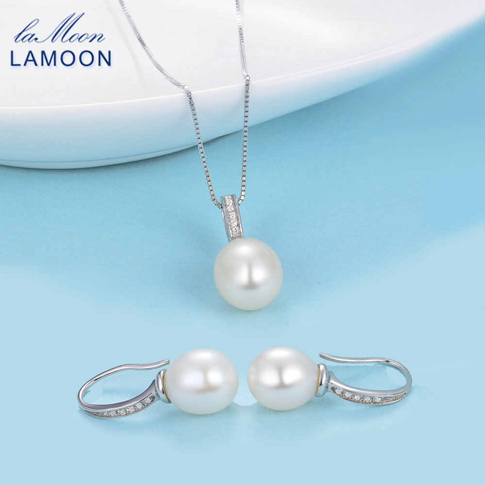 LAMOON White Gold Jewelry Set with 100% Natural Freshwater Pearl 925 Sterling Silver Fine Jewelry Party Engagement Bijoux V020-1