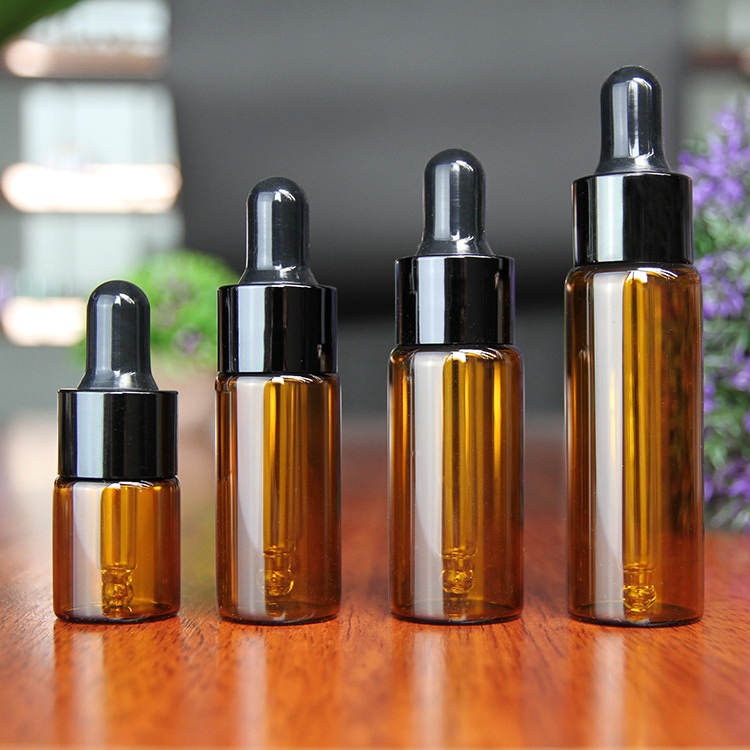 10pcs/lot 5/10/15/20ml Amber Glass Dropper Bottle With Black Lid Portable Glass Eye Dropper Aromatherapy Esstenial Oil Bottle