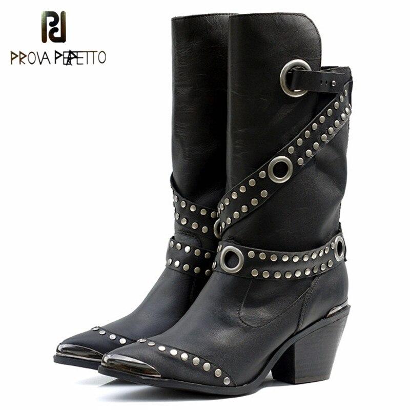 Ayakk.'ten Diz Altı Çizmeler'de Prova Perfetto Avrupa Popüler Kadın Orta Buzağı Çizmeler Perçin Yüksek Topuk Botları Sıcak Kürk Ayakkabı Demir Sivri Burun Boot kadın ayakkabısı'da  Grup 1
