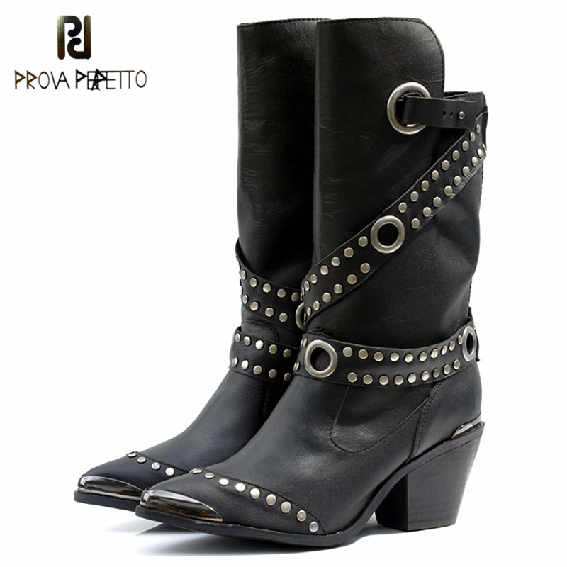 Prova Perfetto European Popular Women Mid Calf Boots Rivet High Heel Boots Warm Fur Shoes Iron Pointed Toe Boot Women Footwear double buckle cross straps mid calf boots
