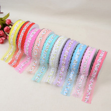 Hot New Fashion Embroidered Lace Ribbon Fabric Width For 2.5cm Print Clothing Cutlery Elastic Polyester Webbing