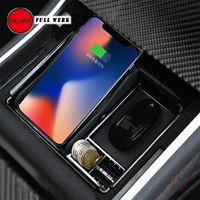 1pc ABS Car Center Control Console Storage Box for Tesla Model 3 Wireless Charger Container Case Tray Organizer Accessories