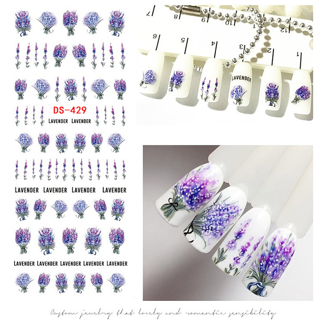 1 sheet Lavender Flower Nail Transfer Water Decals Purple Blooming Flower Sunflower Butterfly Nail Art Sticker Nails Accessoires кошелек leo ventoni leo ventoni le683bwaxup7