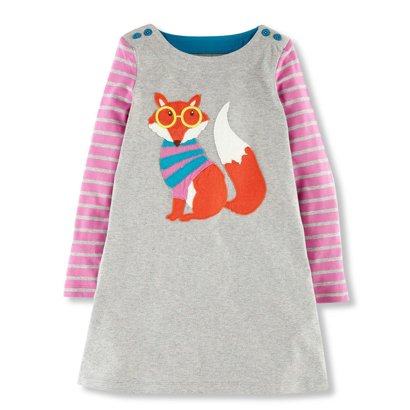 HOT Baby Girls Dresses Appliques Fox 2018 Children Dresses For Girls Princess Dress Spring Winter Long Sleeve Cotton Kid Clothes ladybird appliques dress wholesale clothing for girls princess baby boutique o neck clothes children polka dot dresses 6pcs lot