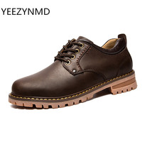 2017 NEW Genuine Leather Casual Shoes Men Boat Oxford Spring Aumtum Lace Up Non Slip Work