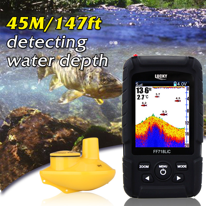 Lucky FF718Li-CW Wireless Portable Fish Finder depth sonar 45M 147Feet Sonar Alarm Waterproof Fishfinder Ocean Color Display #B0 эхолот скат два луча lucky ff 718 duo