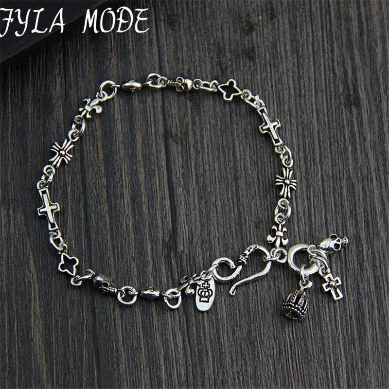 925 Sterling Argent Chapelet Bracelet S925 Thai Argent 5.70mm largeur 18 cm Croix Couronne Crâne Charmes Bracelets pour les Femmes hommes Bijoux