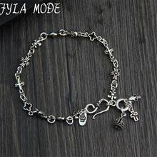 925 Sterling Silver Rosary Bracelet S925 Thai Silver 5.70mm width 18cm Cross Crown Skull Charms Bracelets for Women Men Jewelry