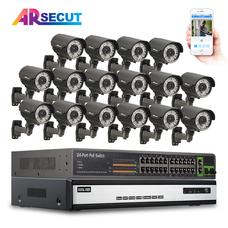 6TB HDD 24CH POE Switch Onvif 16CH NVR CCTV System 1080P 2.0MP Varifocal 2.8-12mm Lens Outdoor IR Network IP POE Cam Kit 16ch poe nvr 1080p 1 5u onvif poe network 16poe port recording hdmi vga p2p pc
