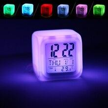 LED Digital Alarm Clock 7 Colores Cambio Luminoso Electrónico Termómetro de Reloj de Alarma Con Cable USB Como Regalo Para Los Niños