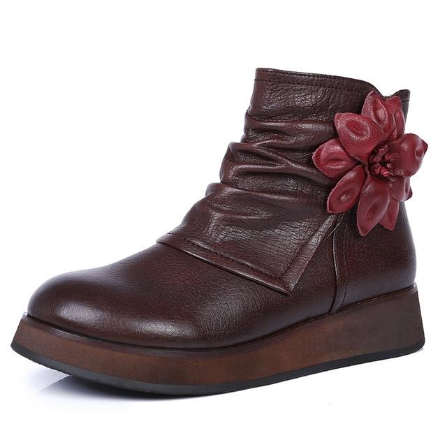 Saf deri kadın botları 2018 sonbahar ve kış yeni kalın alt yuvarlak kafa artan deri çiçek bayan botları