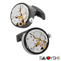 SAVOYSHI Latest Stainless steel Watch Movement Cufflinks for mens High quality Gear shirt Cuff links Round Fashion Brand Jewelry