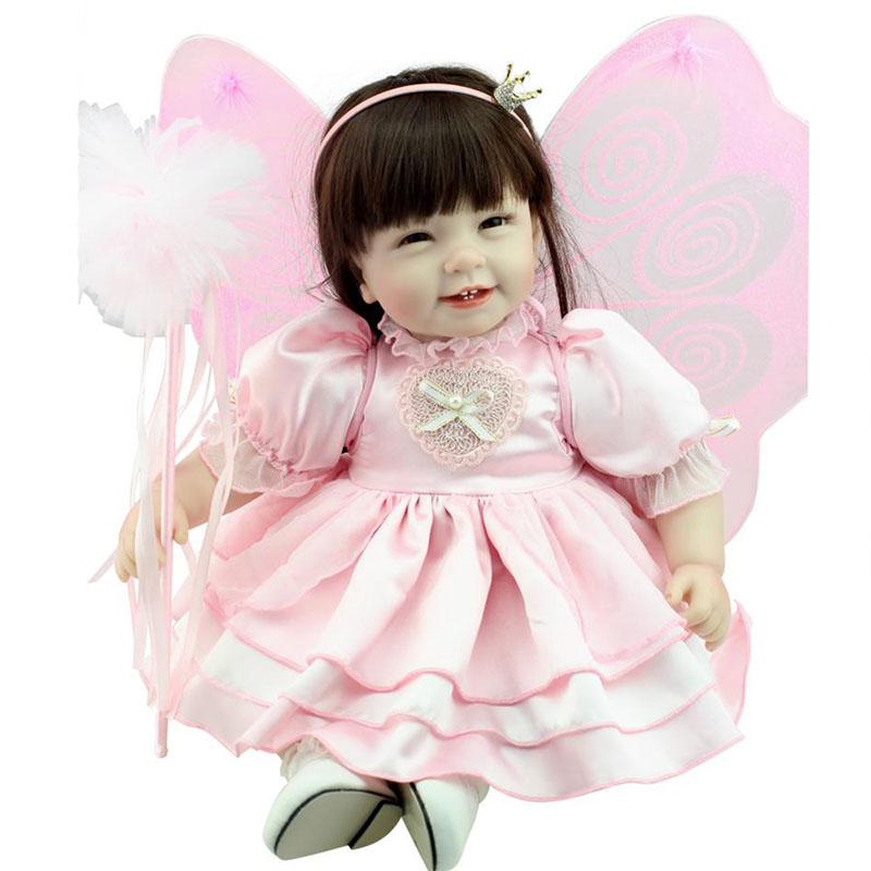 22 Toddler Girl Dolls Lifelike Silicone Smile Girl Doll Realistic Vinyl Baby Reborn Doll Toys with Butterfly Princess Dress lifelike american 18 inches girl doll prices toy for children vinyl princess doll toys girl newest design