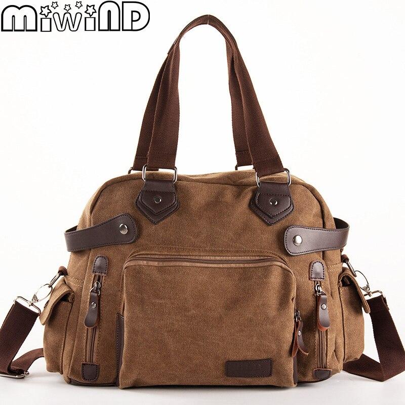 2019 New Male Bag Men Handbag Multifunction Shoulder Crossbody Bags Travel Luggage High Quality Vintage Canvas & Leather Parts