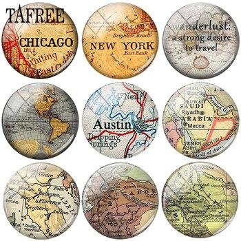 TAFREE alta calidad hecho a mano mapa del mundo imágenes 25mm DIY cabujón domo de vidrio imágenes joyería accesorios de colgantes