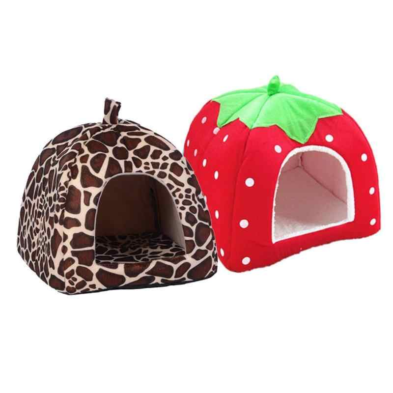 Macia Leopardo Morango Pet Dog Cat House Tenda Canil Doggy 2019 Inverno Quente Almofada Cesta Dobrável Animal Caverna Cama Para Animais de Estimação produto