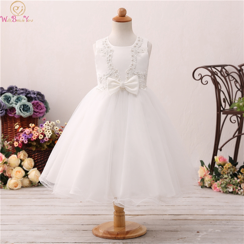 2019 Tea Length Ball Gown   Flower     Girls     Dresses   For Wedding Fluffy Pageant Baby Birthday Party First Communion vestido Robe Gowns