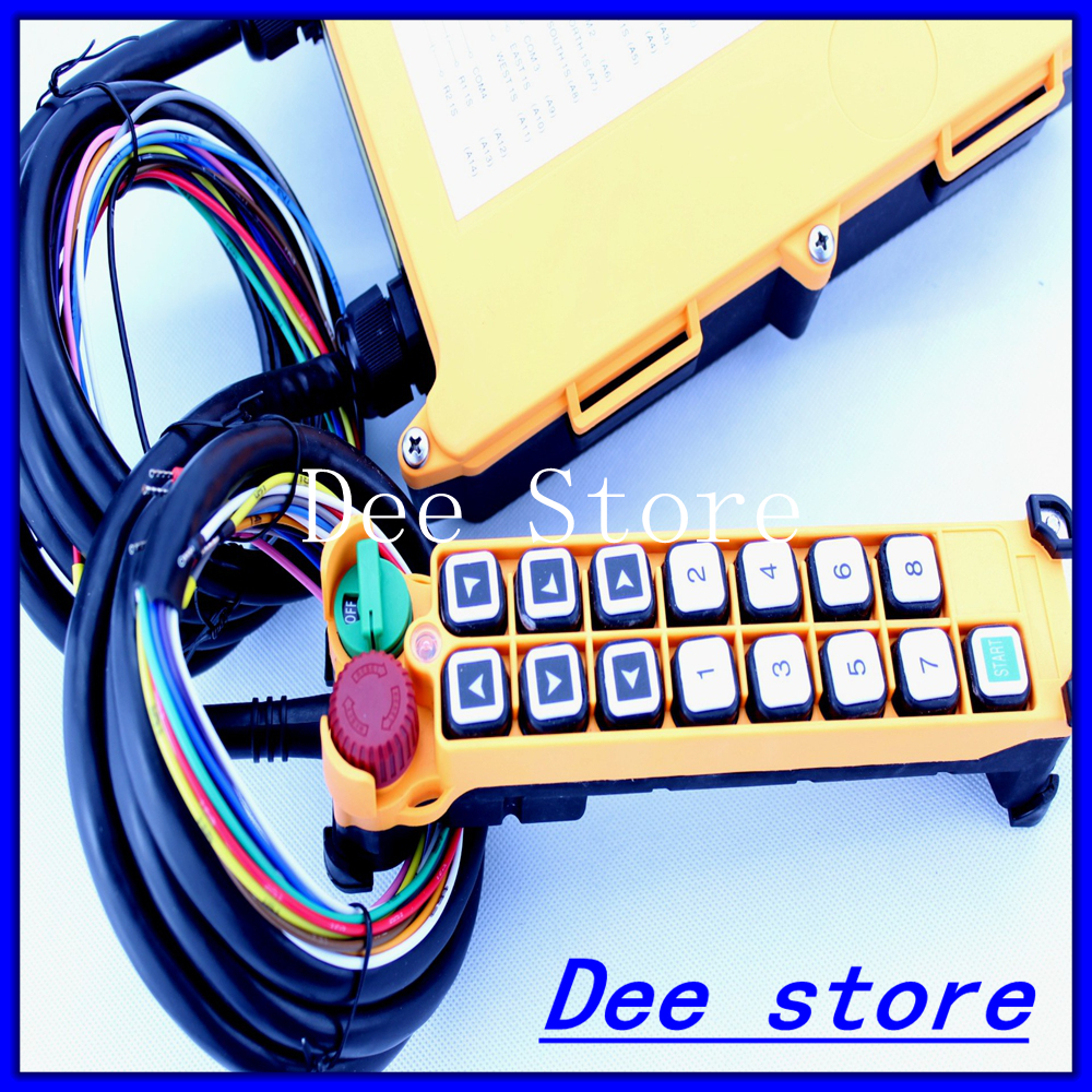 2 Speed 1 Transmitter Hoist Crane Truck Radio Remote Control Push Button Switch System Controller With E-Stop free shipping 6 channel 1 speed 2 transmitters hoist crane truck radio remote control push button switch system with e stop