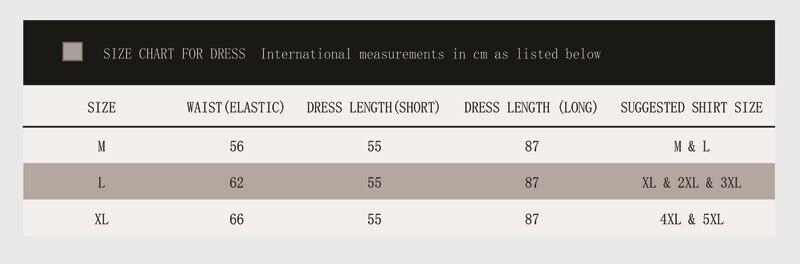 成人舞裙 Dress Size Chart