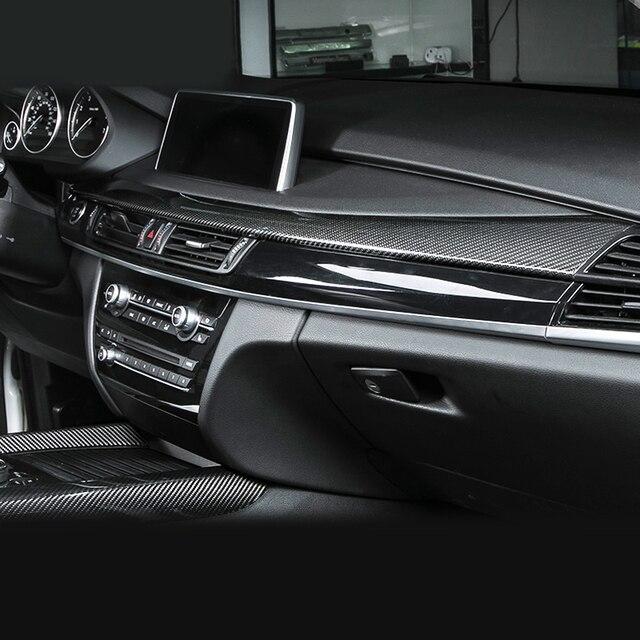 100 Real Carbon Fiber Center Console Stripe Cover Trim For BMW X5 F15 2014