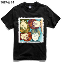 Let It Be Classi Rock Band Hand Drawing Patchwork Tee Men Women Size High Quality Cotton