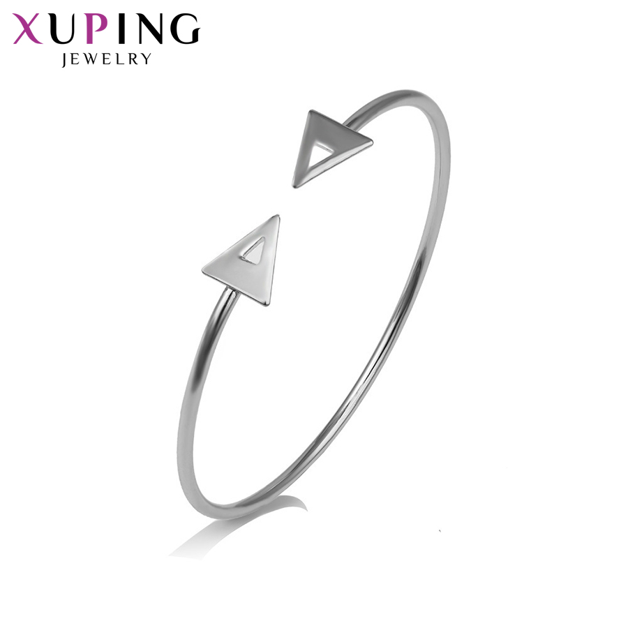 11.11 Deals Xuping Fashion Luxury Adjustable Bangle Rhodium Color Plated Jewelry for Women Christmas Day Gift S60-51653