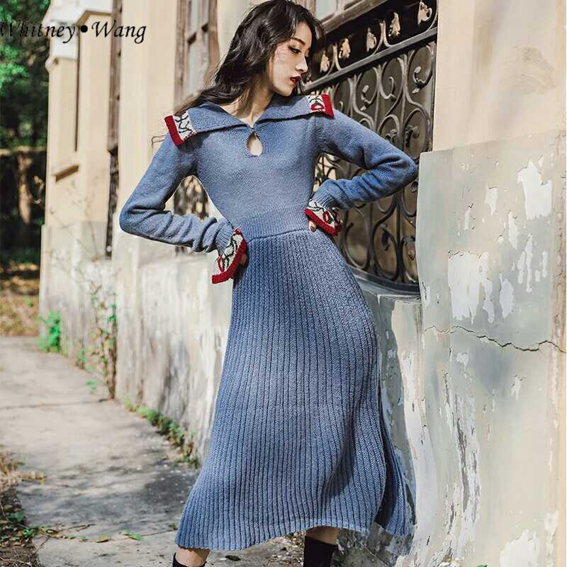 Casual Floral Whitney 2 Tricoté Vintage Façons Style Hiver Femmes Robe 2018 Wang Automne Chandail Porter Mode 6n6f0