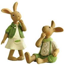 Green Ornament Hand Rabbit Bunny Resin Figurine Gift for Friend Home Decor Micro Landscape Fairy Garden