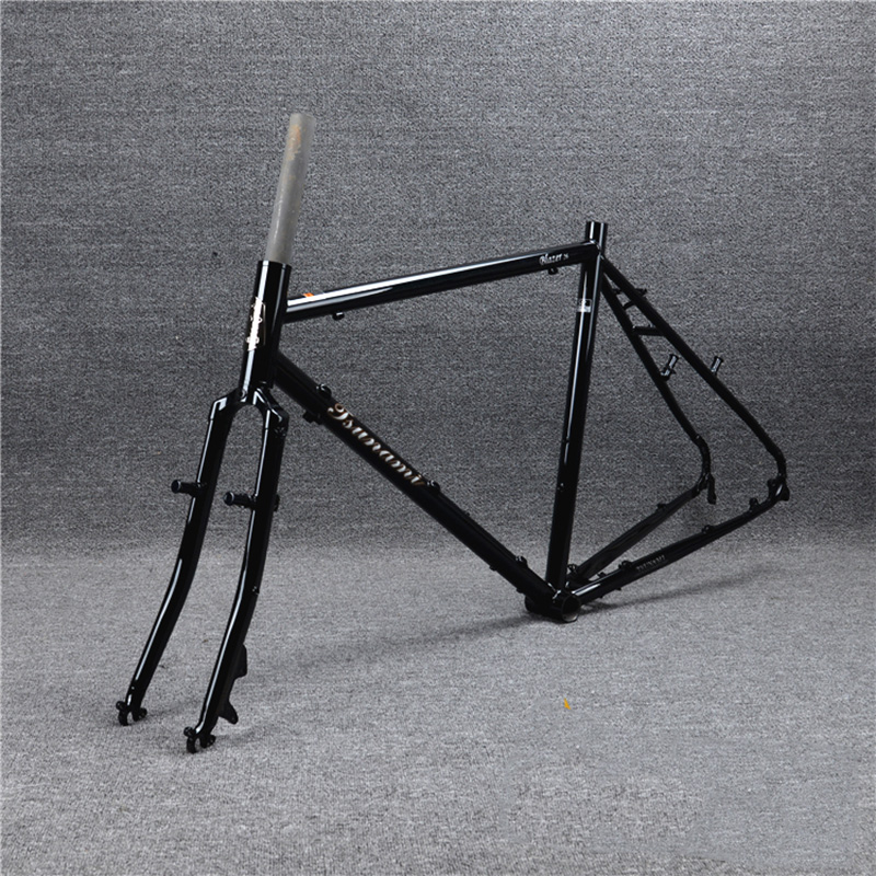 TSUNAMI CR-MO Steel 700c Touring Frameset Road Bike Cyclcross 26 Frame Fork Disc V Cantilever Brake Classic Black color