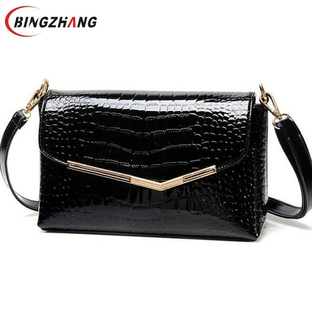 brand women messenger bags crocodile pattern patent leather handbag female small shoulder bags envelope clutch L4-2469