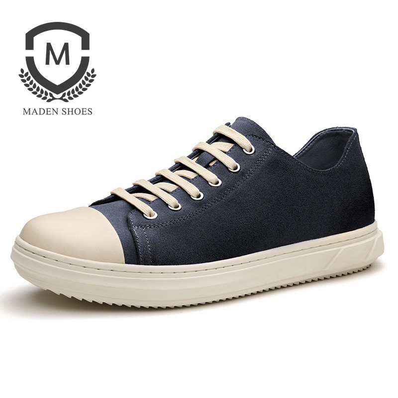 Maden Waxy Suede Leather Sneakers Men Casual Shoes Sporty Korean Style Anti slip Black Blue Brown Yellow Classic Low top Basic