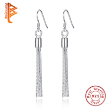Authentic 925 Sterling Silver Anti-allergic Crystal Tassel Drop Earrings Fashion Long Earring for Women Luxury brincos Jewelry