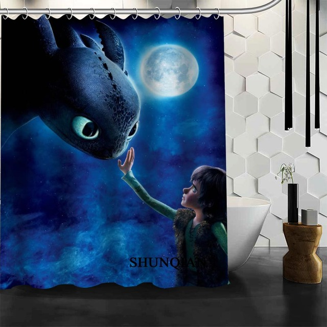 Custom How To Train Your Dragon Shower Curtain Bathroom Accessories Polyester Fabric With Holes