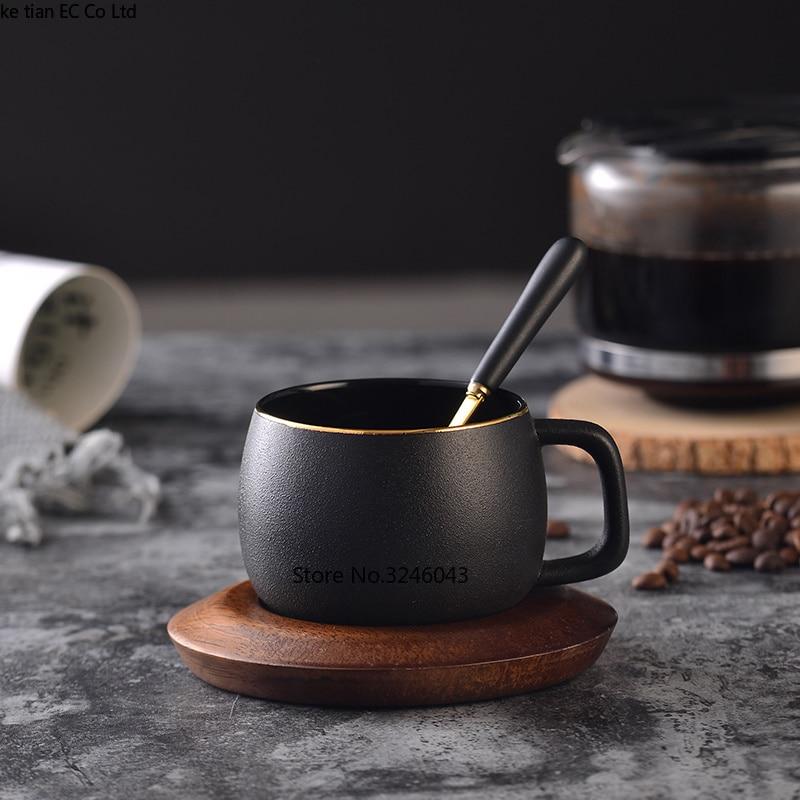 Northern European Scrub Ceramic Coffee Cup Creative gold coffee cup dish spoon set English afternoon tea red tea cups gift box