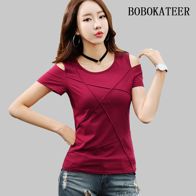 BOBOKATEER plus size t shirt women tshirt camisetas verano mujer 2019 off shoulder summer top t-shirt women tops tee shirt femme