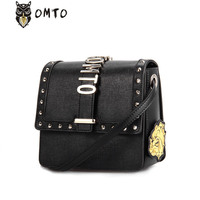OMTO Luxury Brand Women Genuine Leather Mini Shoulder Bags Designer Punk Rivert Flap Bag With Wristband