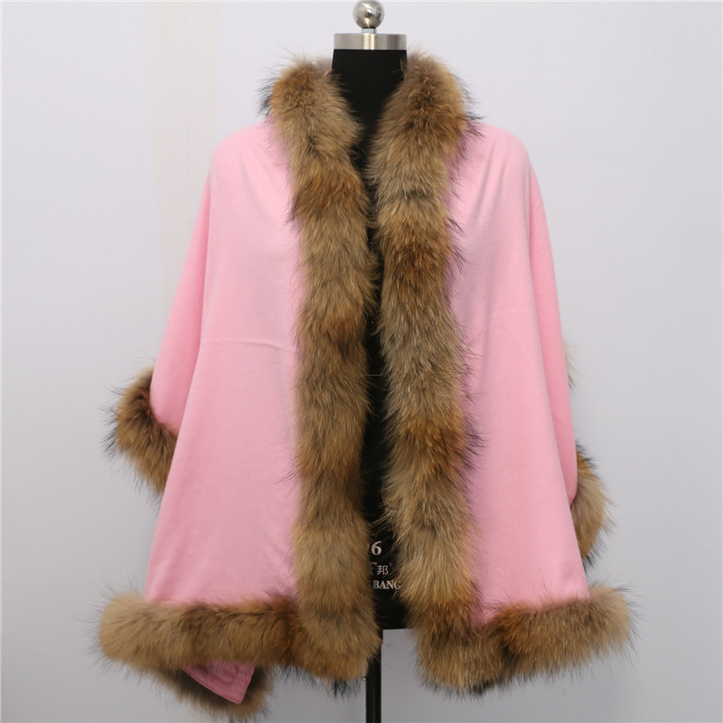 Free shipping Big Scarf Knitted Shawl Echarpe Luxury Winter Scarves and Ponchos Warm Wool raccoon fur trim Cashmere Cape