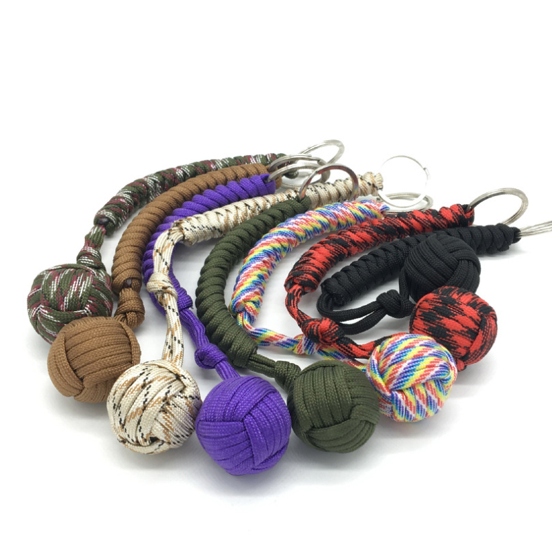10 Colors Outdoor Security Protection Monkey Fist Steel Ball For Girl Bearing Self Defense Survival Keychain Broken Windows