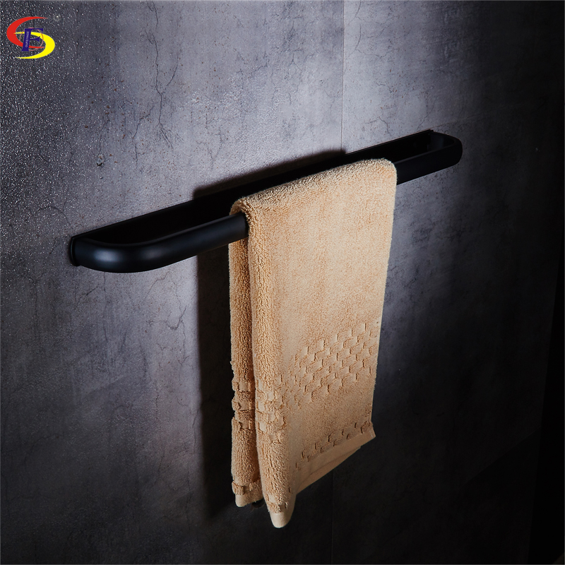 OFYAGE Black Stainless Steel Wall Mounted Bathroom Towel Holders Towel Bars Towel Racks Bathroom Accessories free shipping becola bathroom accessories folding movable bath towel bars surface chome towel racks b 88005