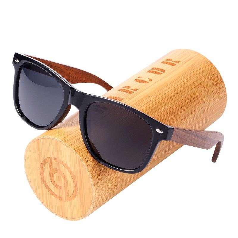 BARCUR Polarized Sunglasses Walnut Bamboo Sunglasses With Plastic Frame Bamboo Shades Sunglasses For Men